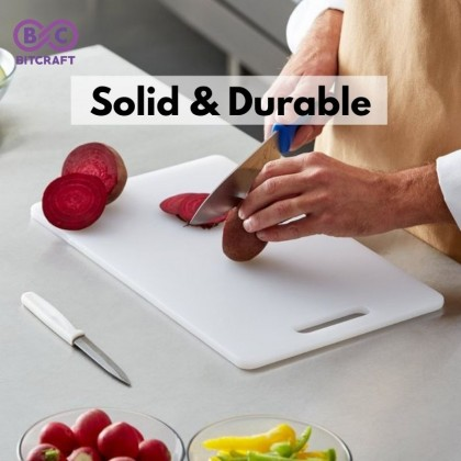 Bitcraft White Cutting Board Chopping Board Rectangle Plastic Kitchen Odorless Non Toxic Papan Pemotong Serbaguna Sayur Daging Ikan Buah